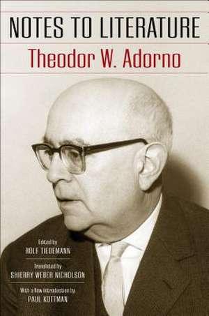 Notes to Literature de Theodor W. Adorno