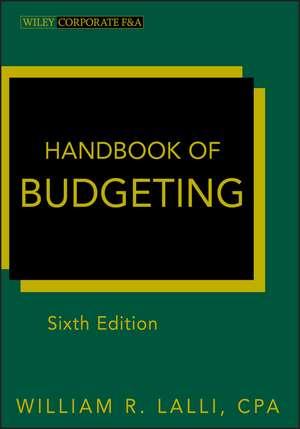 Handbook of Budgeting de William R. Lalli
