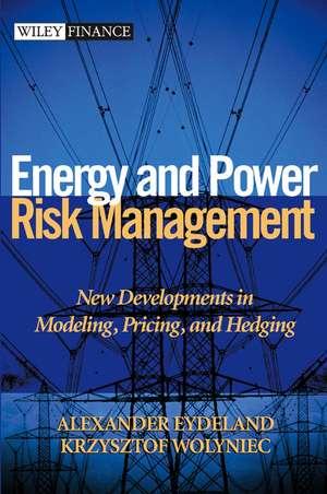 Energy and Power Risk Management: New Developments in Modeling, Pricing, and Hedging de Alexander Eydeland