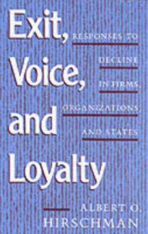 Exit Voice & Loyalty – Responses to Decline On Firms Organizations & States imagine