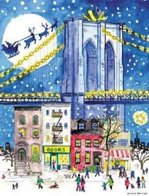 Michael Storrings Brooklyn Bridge Holiday Embellished Notecards de Michael Storrings