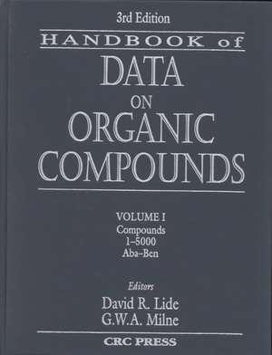 CRC Handbook of Data on Organic Compounds de David R Lide