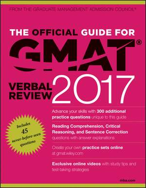 The Official Guide for GMAT Verbal Review 2017 with Online Question Bank and Exclusive Video de GMAC (Graduate Management Admission Council)