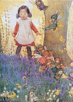 Girl Meets Fairies - Birthday Greeting Card de Susan B. Pearse