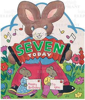 Rabbit W/ Accordion - 7th Birthday - Greeting Card de Blue Lantern Publishing