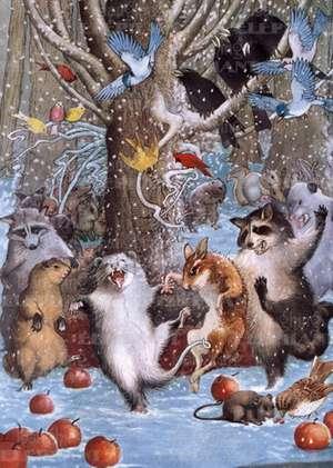 Animals Dancing in Snow - Celebration Greeting Card de Philip Vinton Clayton