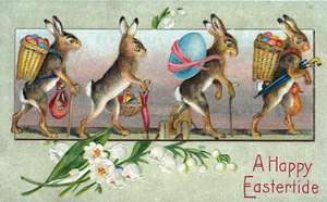 Rabbits W/ Easter Eggs - Greeting Card de Blue Lantern Publishing