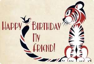 Happy Birthday My Friend - Tiger Birthday Card de Laughing Elephant