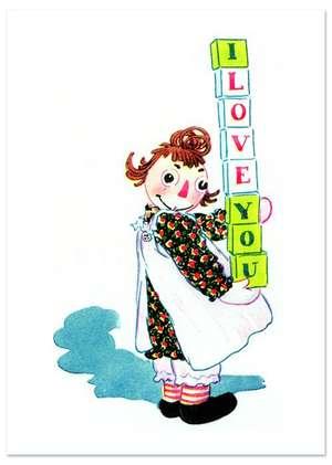 Raggedy Ann Sends Her Love Friendship Greeting Card de Laughing Elephant