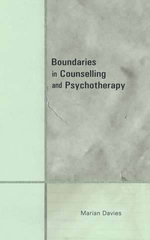 Boundaries in Counselling and Psychotherapy