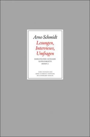 Bargfelder Ausgabe. Standardausgabe. Supplemente 2