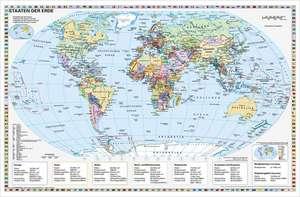 Staaten der Erde, politisch 1 : 40 000 000. Wandkarte Kleinformat ohne Metallstaebe