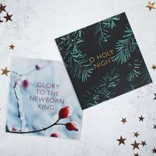 Festive Scene 10-Pack Christmas Cards: O Holy Night and Glory to the Newborn King