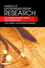 Handbook of Entrepreneurship Research: An Interdisciplinary Survey and Introduction
