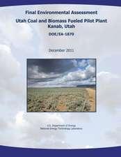 Final Environmental Assessment - Utah Coal and Biomass Fueled Pilot Plant, Kanab, Utah (Doe/EA-1870)