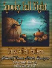 Spooky Fall Night Cross Stitch Pattern