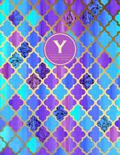 Monogram Journal y - Personal, Dot Grid - Blue & Purple Moroccan Design