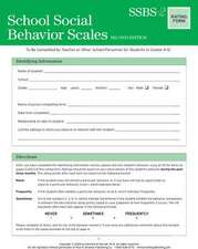 School Social Behavior Scales Rating Form:  A Social & Emotional Learning Curriculum [With CDROM]