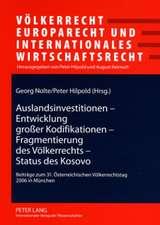 Auslandsinvestitionen - Entwicklung Groer Kodifikationen - Fragmentierung Des Voelkerrechts - Status Des Kosovo