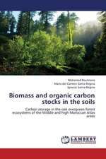 Biomass and organic carbon stocks in the soils