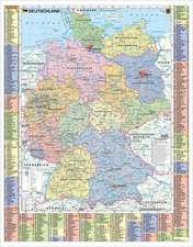 Deutschland politisch und Autokennzeichen - Wandkarte laminiert