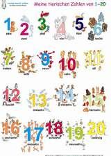 Meine tierischen Zahlen von 1-20. Poster 100 x 70 cm