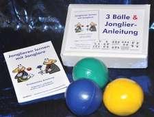 3 Bälle & Jonglier-Anleitung (blau, gelb, grün)